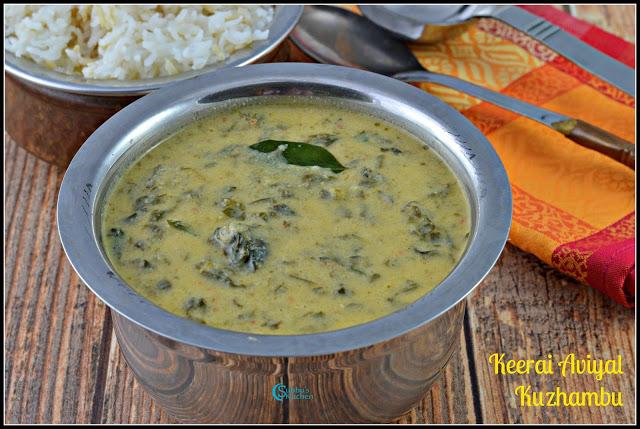 Keerai Avial Kuzhambu | Spinach Aviyal Kuzhambu