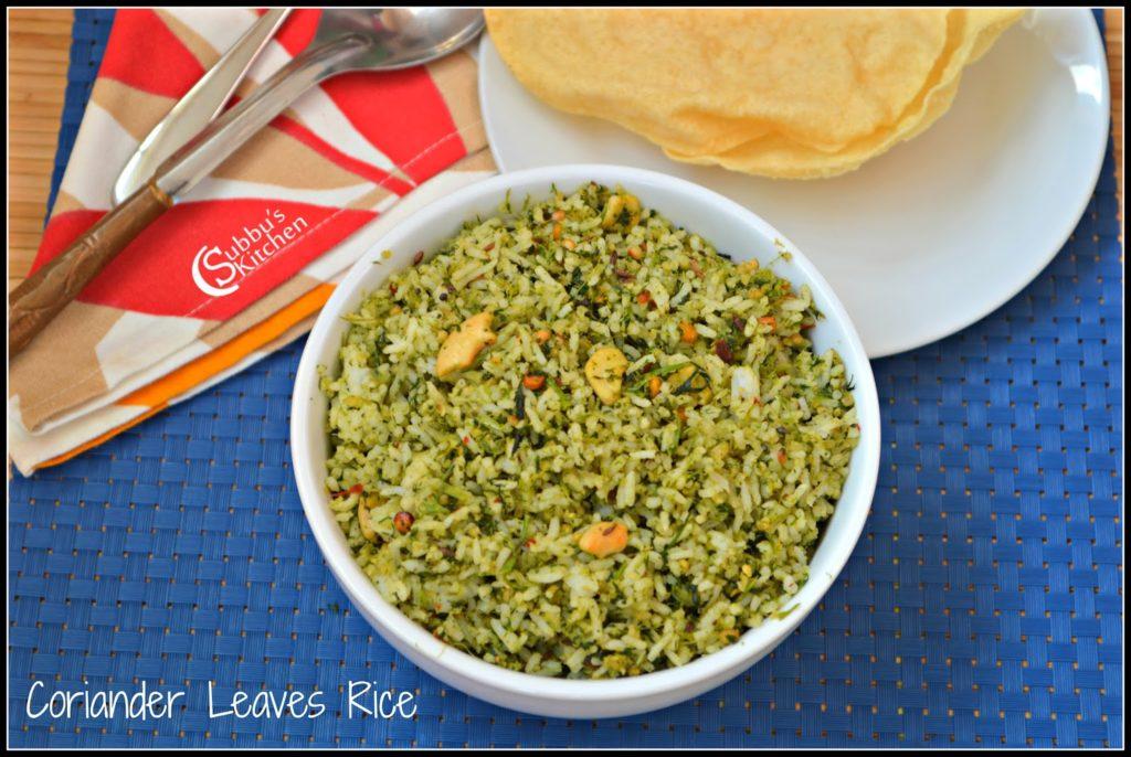 Coriander Leaves Rice, Kothamalli Rice, How to make Coriander Leaves rice