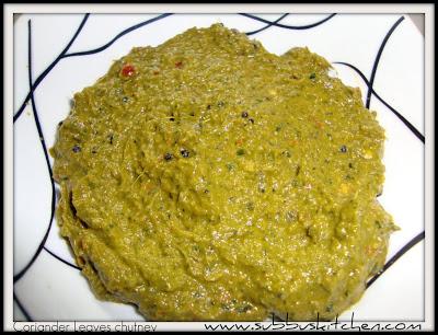 Coriander chutney/Kothamalli chutney