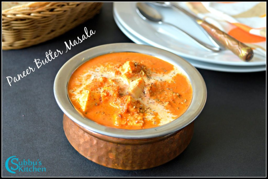 Paneer Butter Masala , a wonderful vegetarian side dish for Chapati, Naan and other varieties of Rotis.