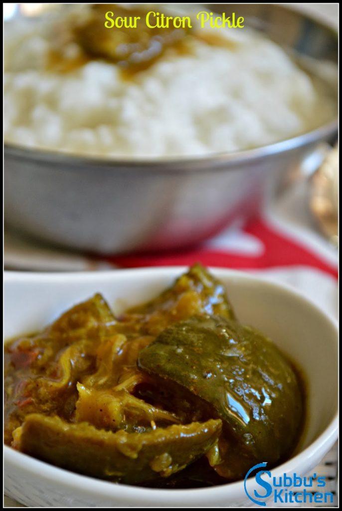 Sour Naarthangaai Pickle (Sour Citron pickle)