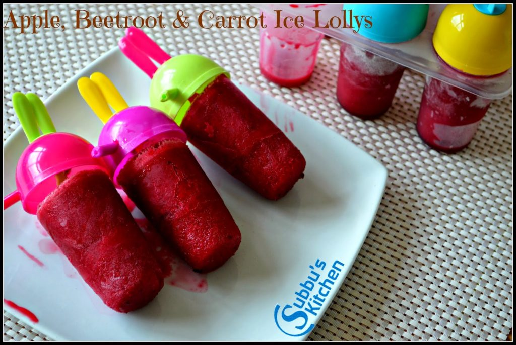 Apple, Beetroot, Carrot Ice Lollys