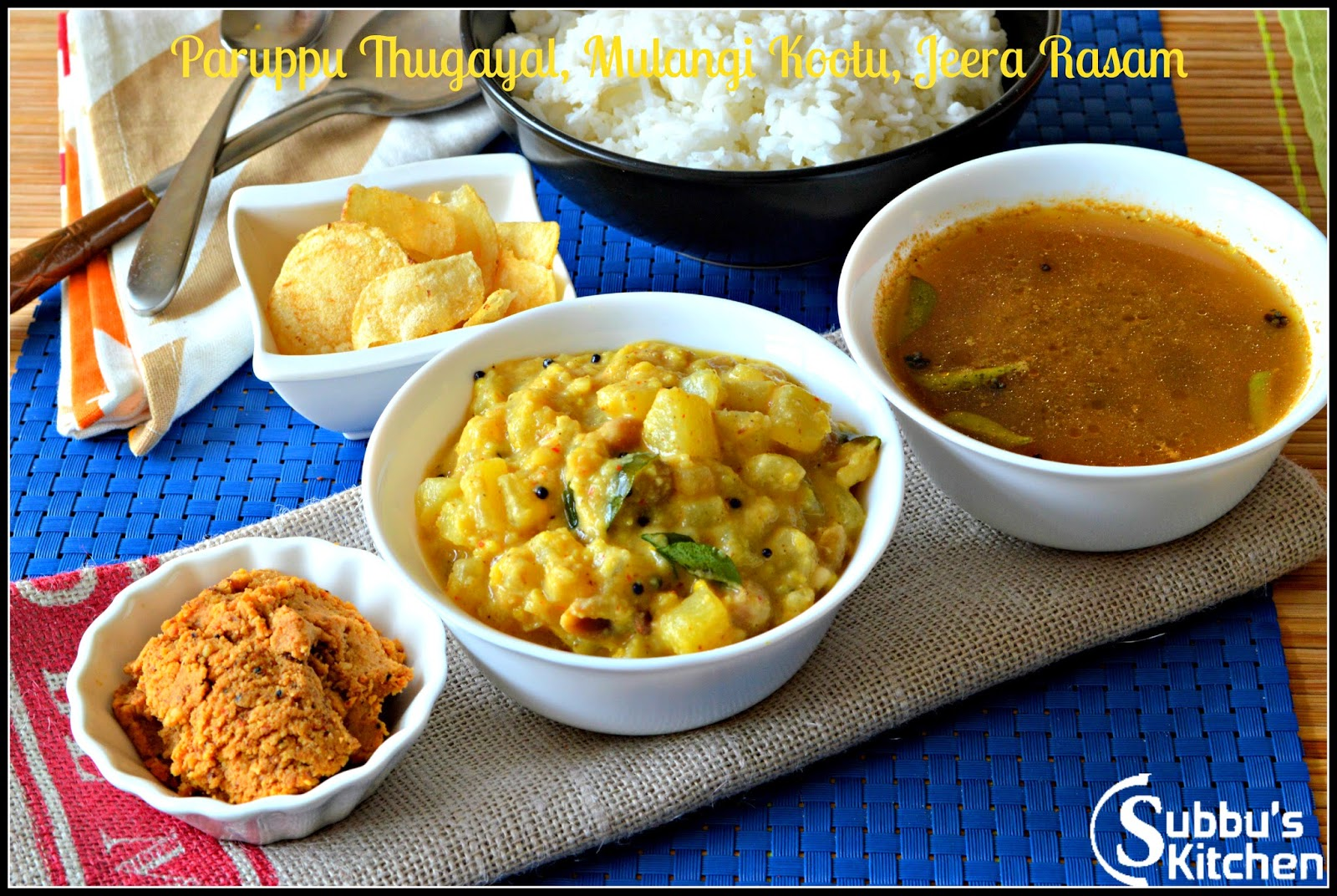 SouthIndian Lunch Menu  3 - Paruppu Thugayal, Jeera Rasam and Mullangi Kootu