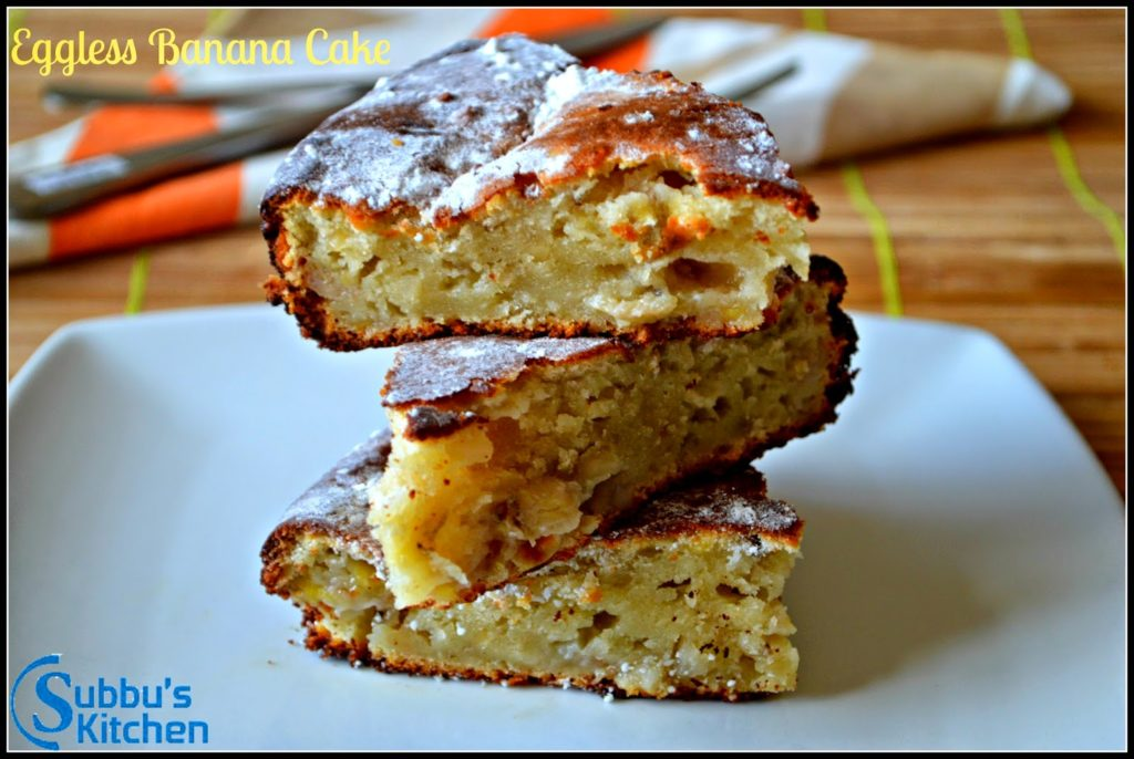Eggless Banana Walnut Cake