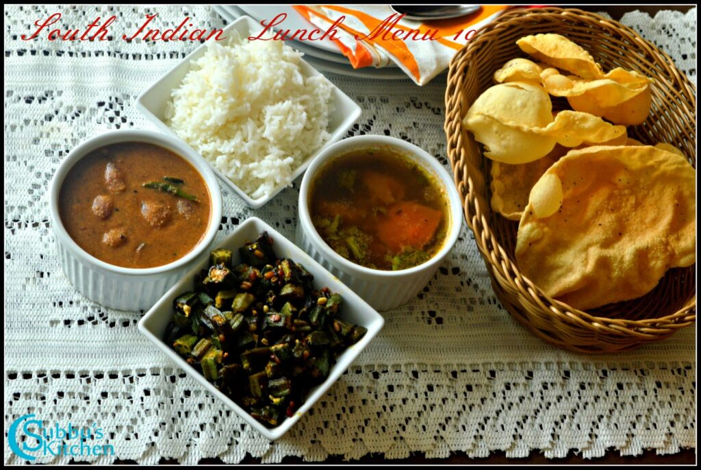 South Indian Lunch Menu 10 - Ulli Theeyal, Ladysfinger Stir-fry, Tomato Rasam, Rice and Appalam