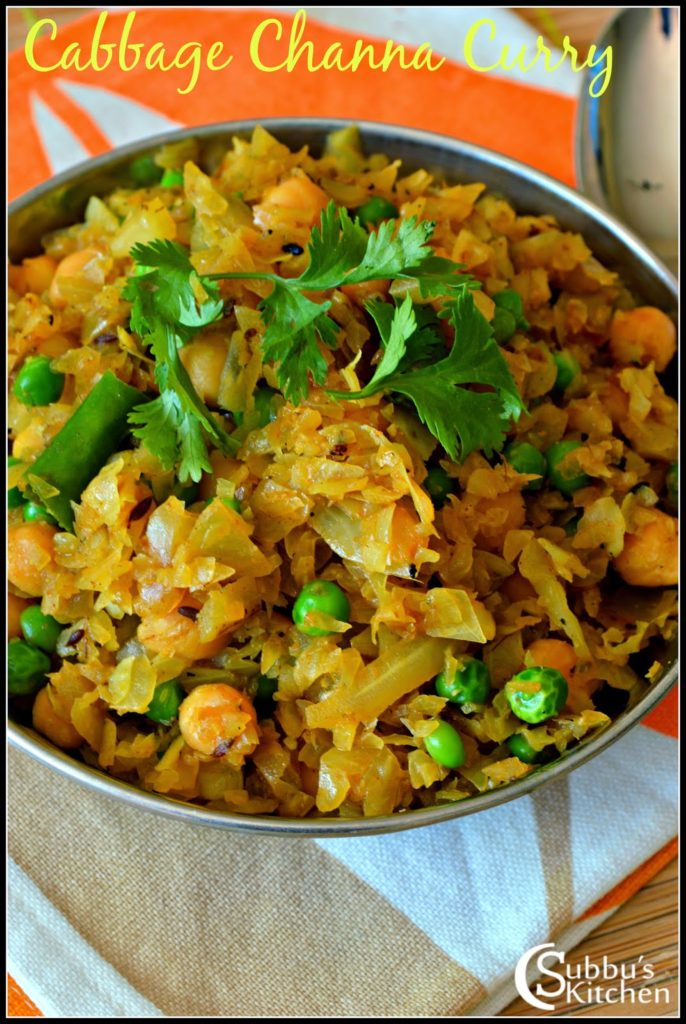 Cabbage Channa Dry Curry Recipe | Chole  Patta Gobhi Curry Recipe
