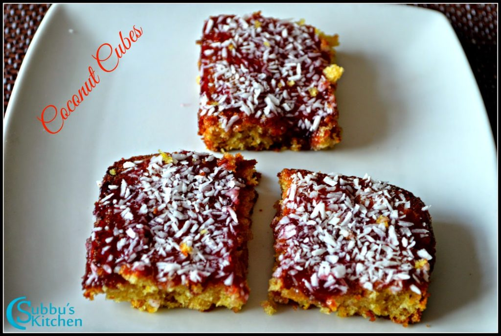 Eggless Coconut Cubes Recipe