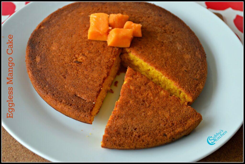 Eggless Mango Cake | Diary free Eggless Mango Cake | How to make spongy mango cake
