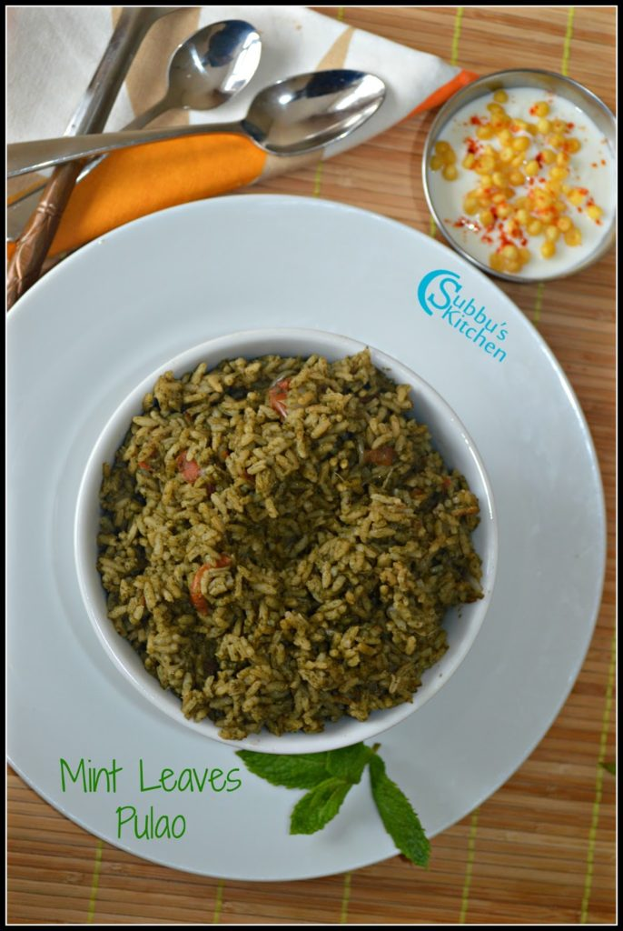 Mint Pulao Recipe, Pudina Pulao Recipe, Mint Rice Recipe, Mint Pulao Recipe with step by step pictures.