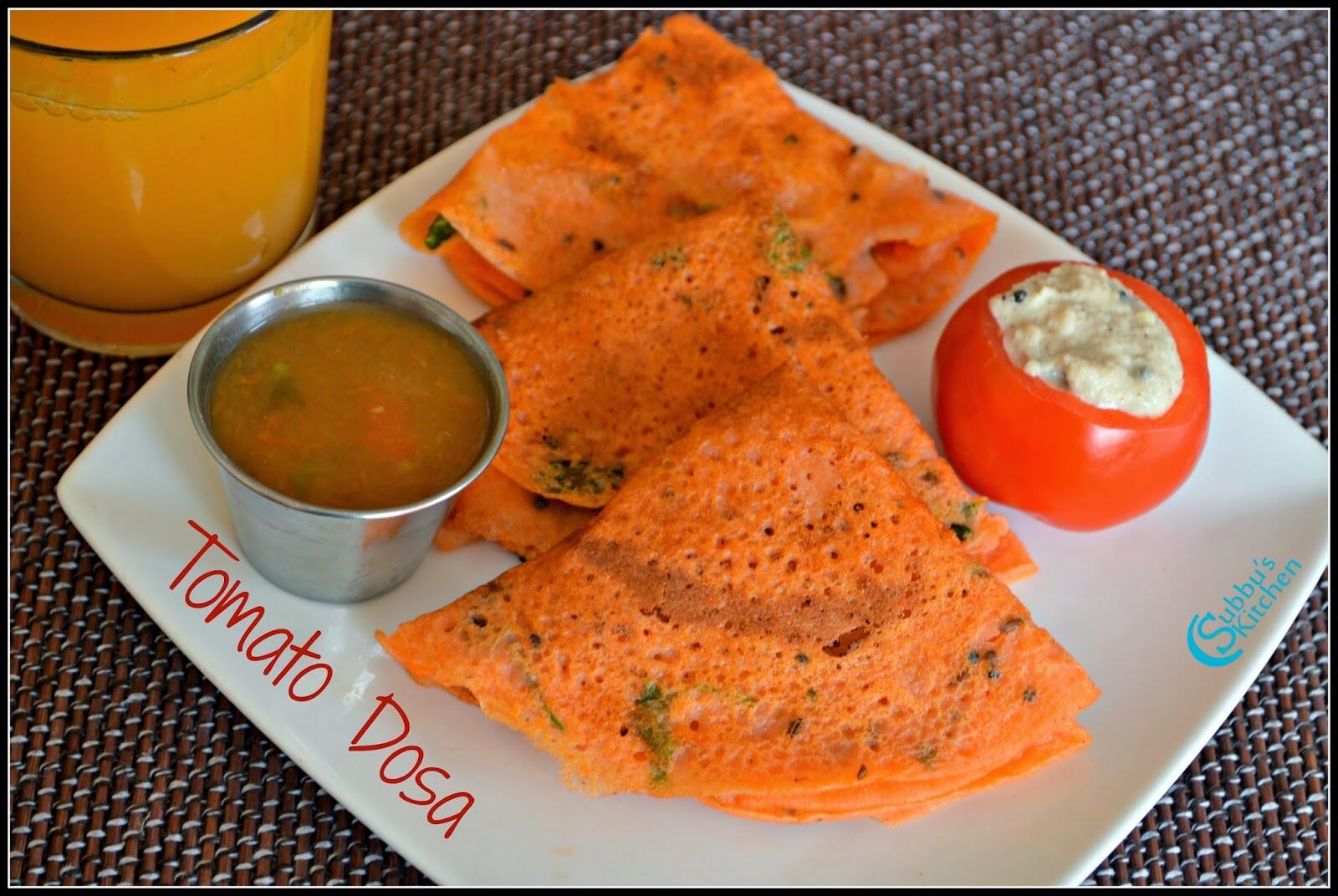 Tomato Dosa | Thakkali Dosa