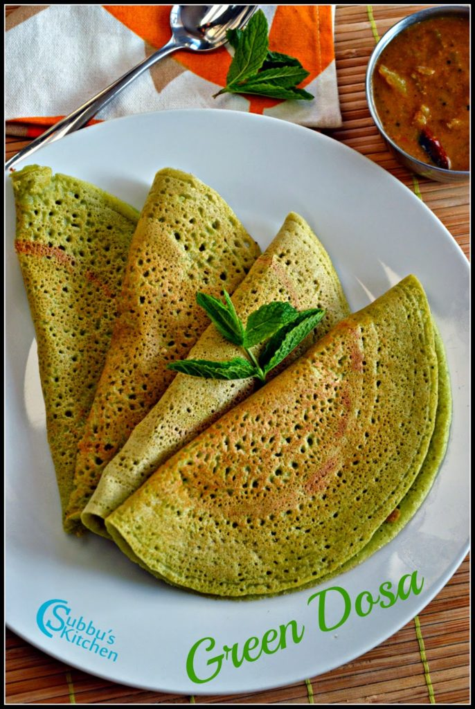 Mint, Coriander and Curry Leaves Dosa Recipe | Green Dosa Recipe