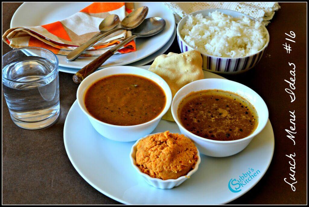 South Indian Lunch Menu 16 - Milagu Kuzhambu, Paruppu Thugayal, Jeera Rasam, Appalam and Rice
