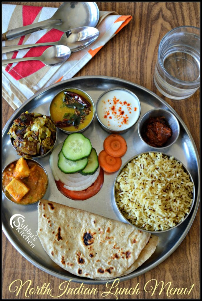 North Indian Lunch Menu 1 - Chapati, Dal Tadka, Mutter Paneer, Aloo PattaGobhi Curry, Jeera Rice, Curd, Salad and Pickle