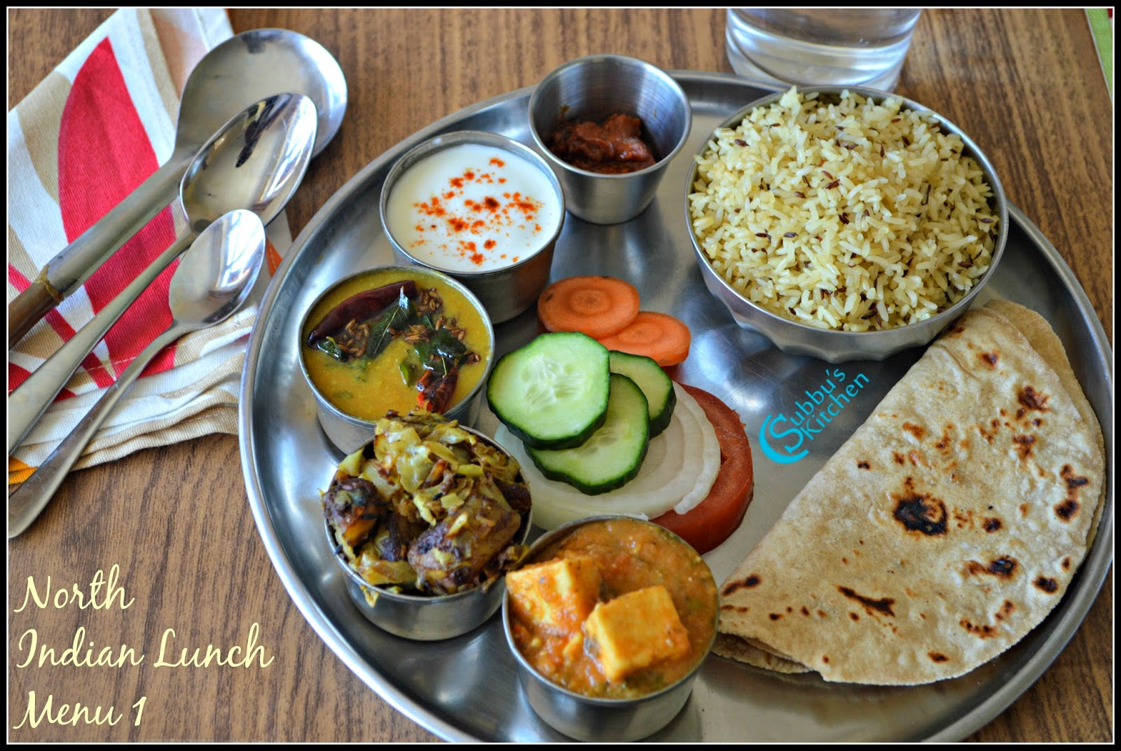 North Indian Lunch Menu 1 Chapati Dal Tadka Mutter Paneer Aloo PattaGobhi Curry Jeera Rice Curd Salad And Pickle