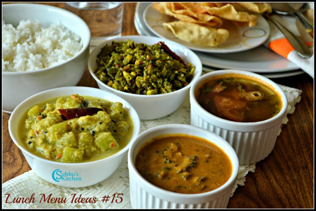 South Indian Lunch Menu 15 - Bittergourd Pitlai, Broad Beans Poriyal, Cucumber Stew, Tomato Rasam and Rice