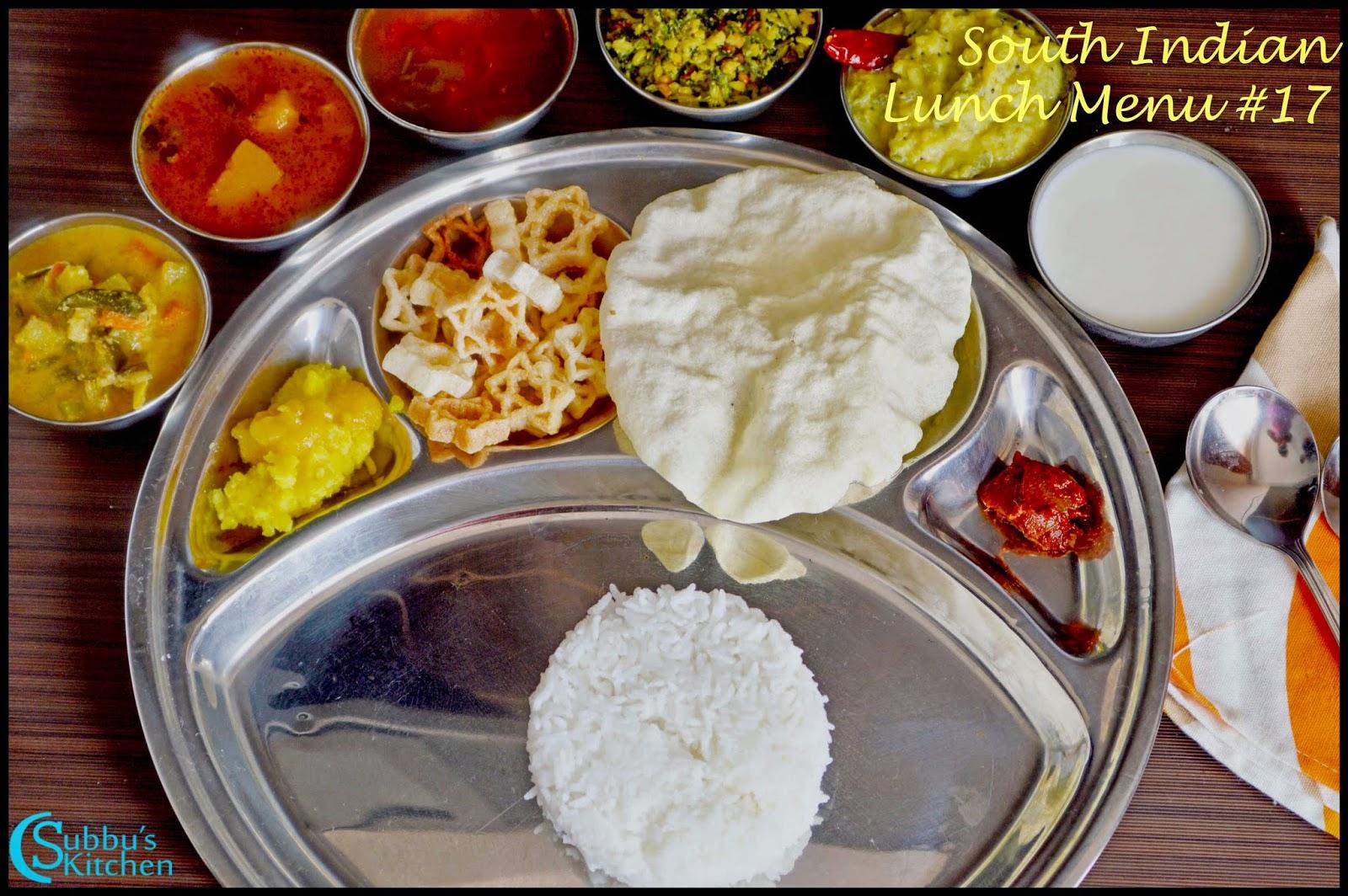 South Indian Lunch Menu 17 - Parangikai Puli Kuzhambu, Aviyal Kuzhambu, Vengaya Rasam, Vendaya Keerai Thuvaran, Peerkangai kootu