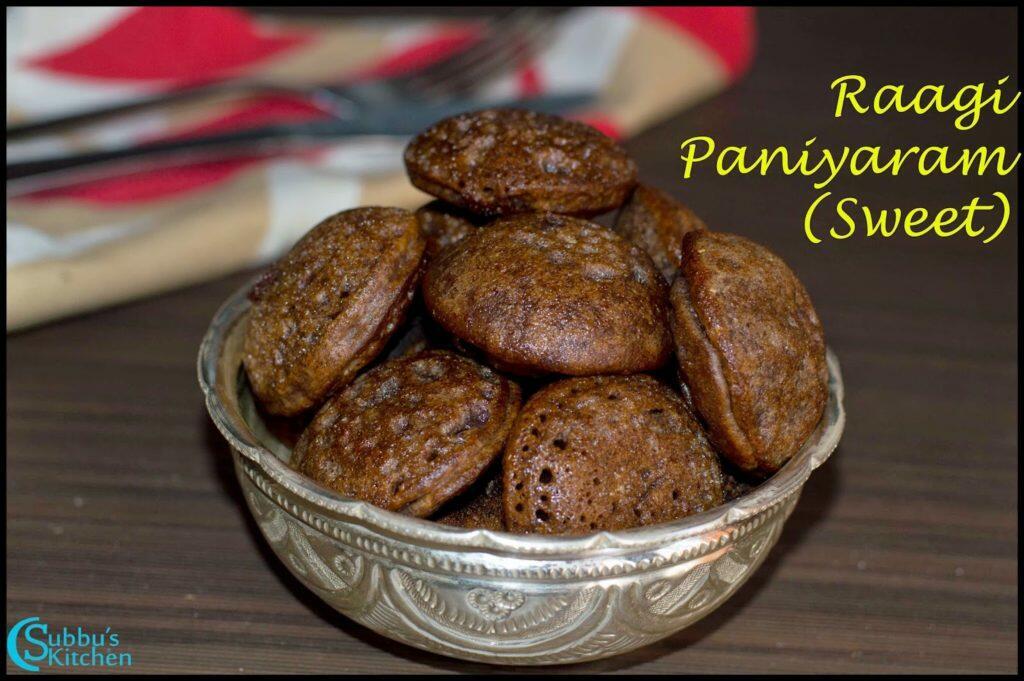 Raagi Flour Paniyaram (Sweet) Recipe   Instant Raagi Flour Sweet Paniyaram Recipe