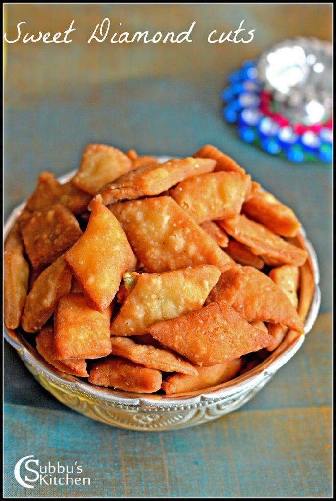 Sweet Thukkada Recipe | Sweet Diamond Cuts Recipe | Sweet Diamond Biscuits Recipe