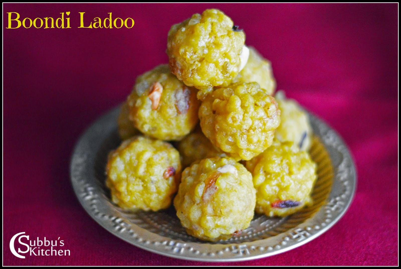 Laddu Recipe Boondi Ladoo Recipe Subbus Kitchen