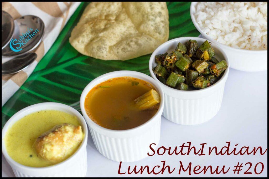 South Indian Lunch Menu 20 - Bonda Morkuzhambu, Drumstick Rasam, Ladysfinger Fry, Papad and Plain Rice