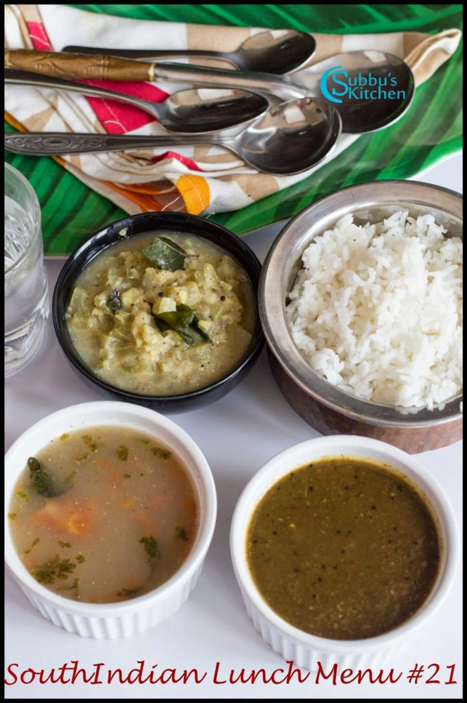 South Indian Lunch Menu 21 - Curry Leaves Kuzhambu, Kambu Rasam, Snakegourd Stew, Rice
