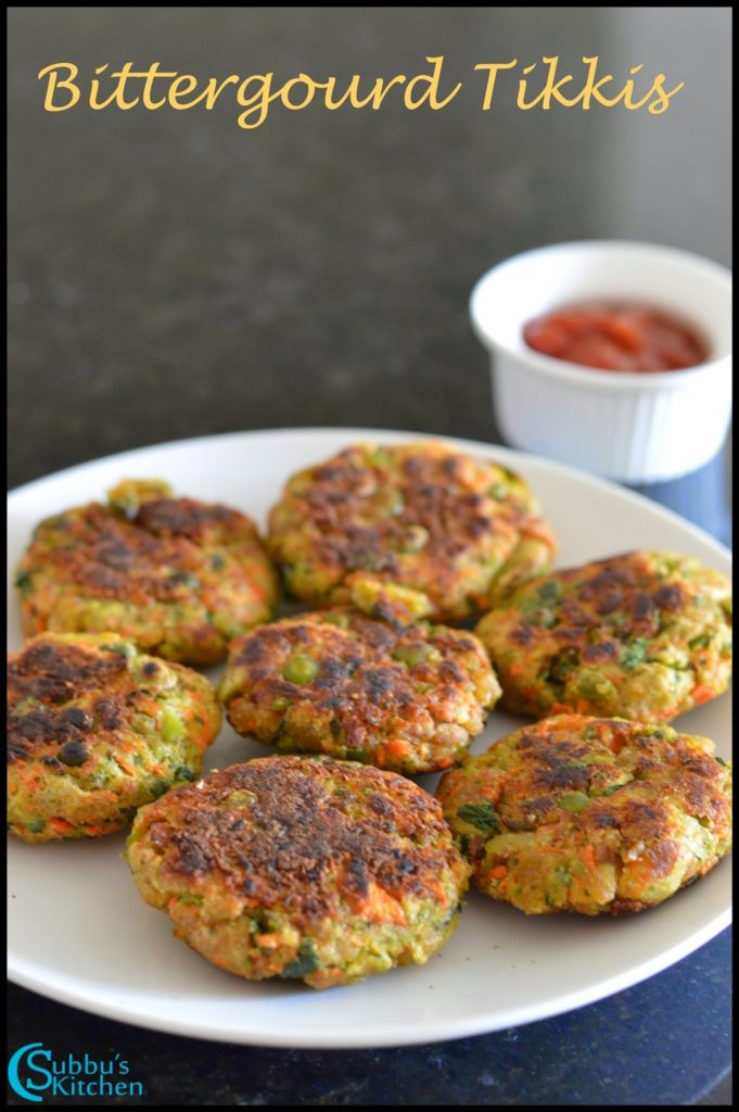 Karela Tikkis Recipe | Bittergourd Cutlet Recipe | Pagarkkai Cutlet Recipe