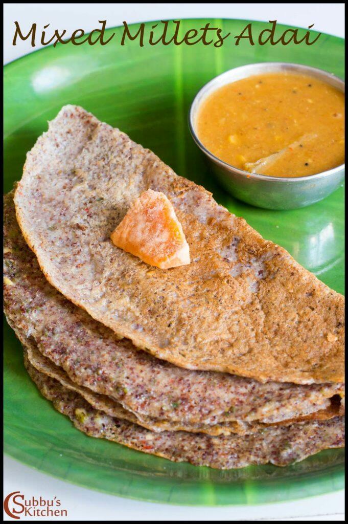 Mixed Millets Adai Recipe | Sirudhanya Paruppu Adai