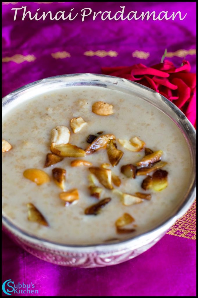 Thinai Pradaman Recipe | Foxtail Millet Kheer Recipe