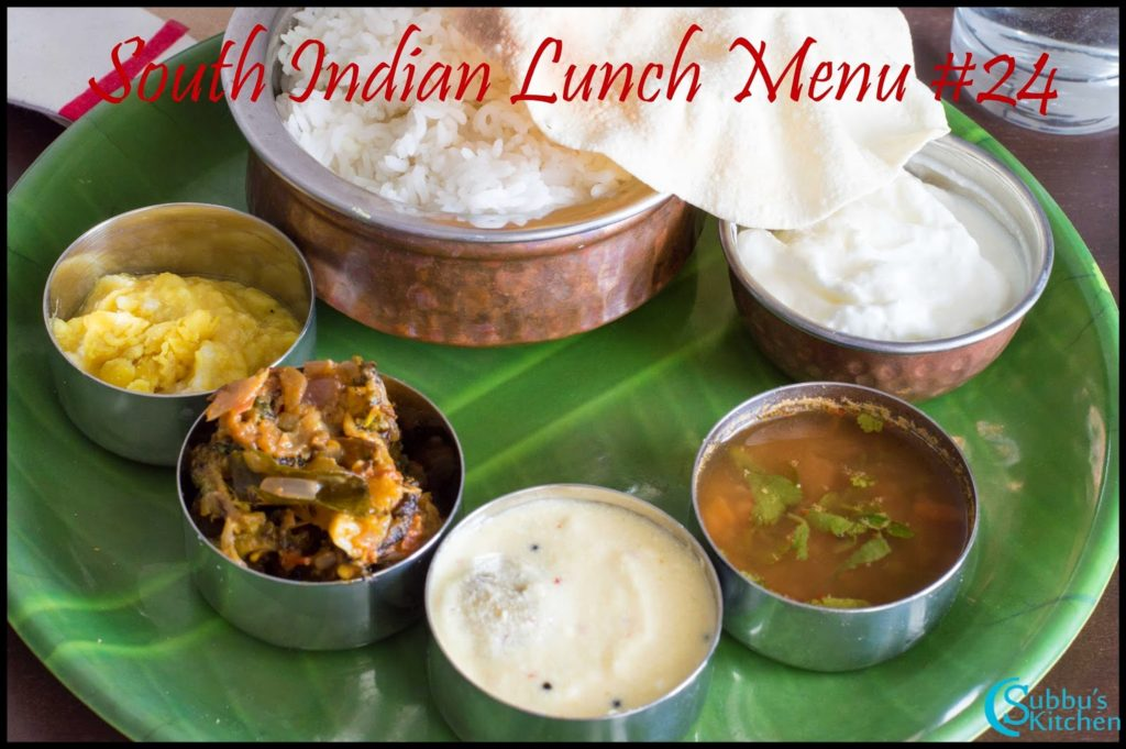 South Indian Lunch Menu 24 - Paruppu Urundai Mor Kuzhambu, Kalyana Rasam, Bittergourd Stir-Fry, Dal with ghee, Curd and Papad