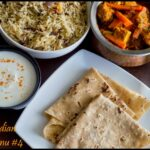 NorthIndian Lunch Menu #4 – Rumali Roti, Paneer Jalfrezi, Jeera Rice and Onion Raitha,