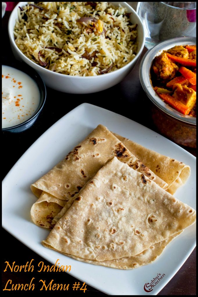 NorthIndian Lunch Menu #4 - Rumali Roti, Paneer Jalfrezi, Jeera Rice and Onion Raitha,