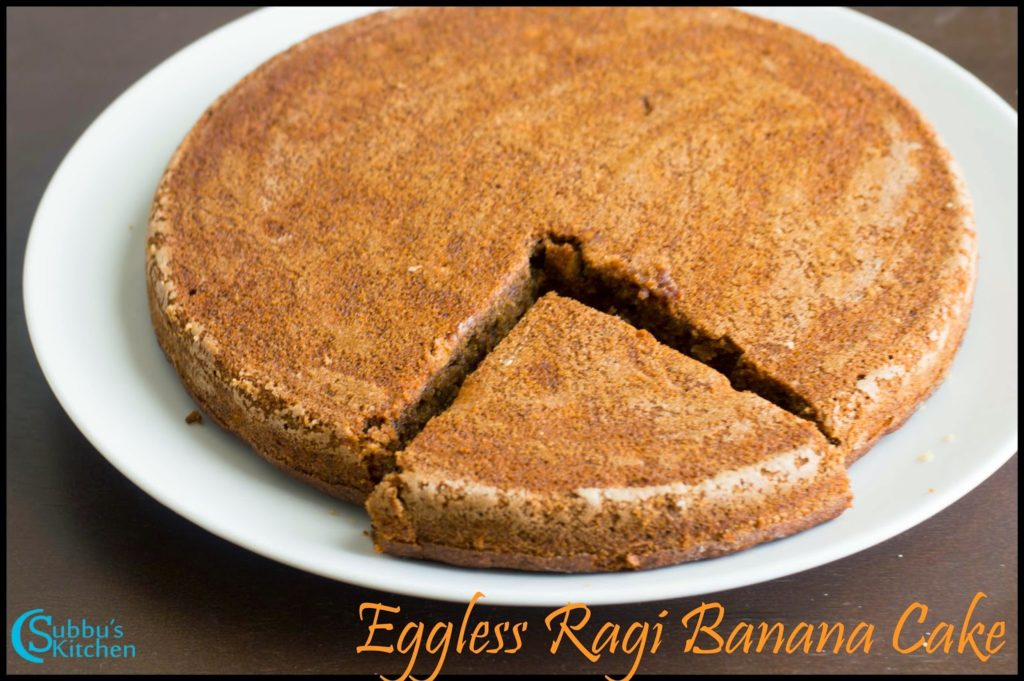 Pressure Cooker Eggless Ragi Banana Cake Recipe