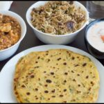 NorthIndian Lunch Menu #5 – Missi Roti, Achari Paneer, Tomato Raitha and Coconut Milk Masala Rice