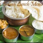 South Indian Lunch Menu 27 – Omam Vendhaya Kuzhambu, Chow Chow kootu, Brinjal Rasam, Rice and Papad