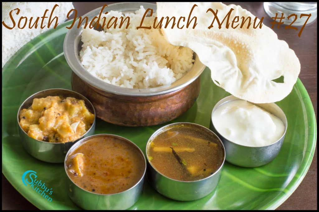 South Indian Lunch Menu 27 - Omam Vendhaya Kuzhambu, Chow Chow kootu, Brinjal Rasam, Rice and Papad