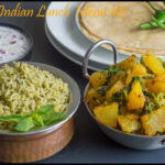 NorthIndian Lunch Menu #6 – Aloo Methi, Roti, Mint Pulao, Onion Raitha