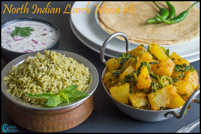NorthIndian Lunch Menu #6 - Aloo Methi, Roti, Mint Pulao, Onion Raitha