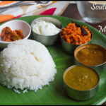 SouthIndian Lunch Menu #29 – Keerai Kuzhambu, Garlic Rasam, Carrot Poriyal,Rice, Curd and Pickle