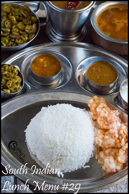 South Indian Lunch Menu #29 - Hotel Sambar, Pineapple Rasam, Kovakkai Curry, Curd, Rice and Papad
