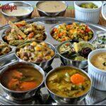 Onam Sadya (Onam Festival Lunch Menu) – Sambar, Rasam, Puliseri, Eriseri, Olan, Kalan, Aviyal, Kadamba thoran, Kadala Paruppu Pradaman, Pal Payasam, Thayir Pachadi, Rice and Pappad