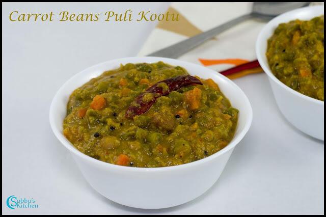 Carrot Beans Puli Kootu Recipe | Carrot Beans Tamarind based Stew