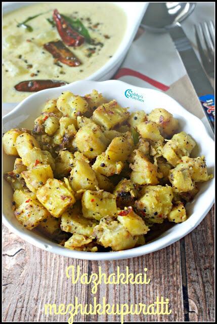 Vazhakkai Mezhukkupuratti | Kerala Style Raw Banana Stir Fry