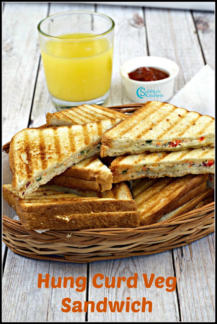 Hung Curd Veg Sandwich Recipe