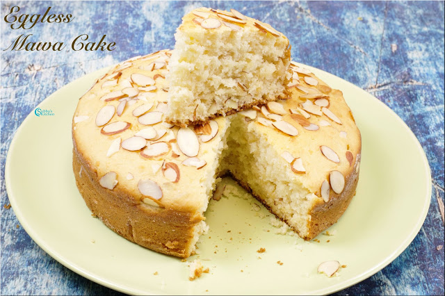 Eggless Mawa Cake in Pressure Cooker