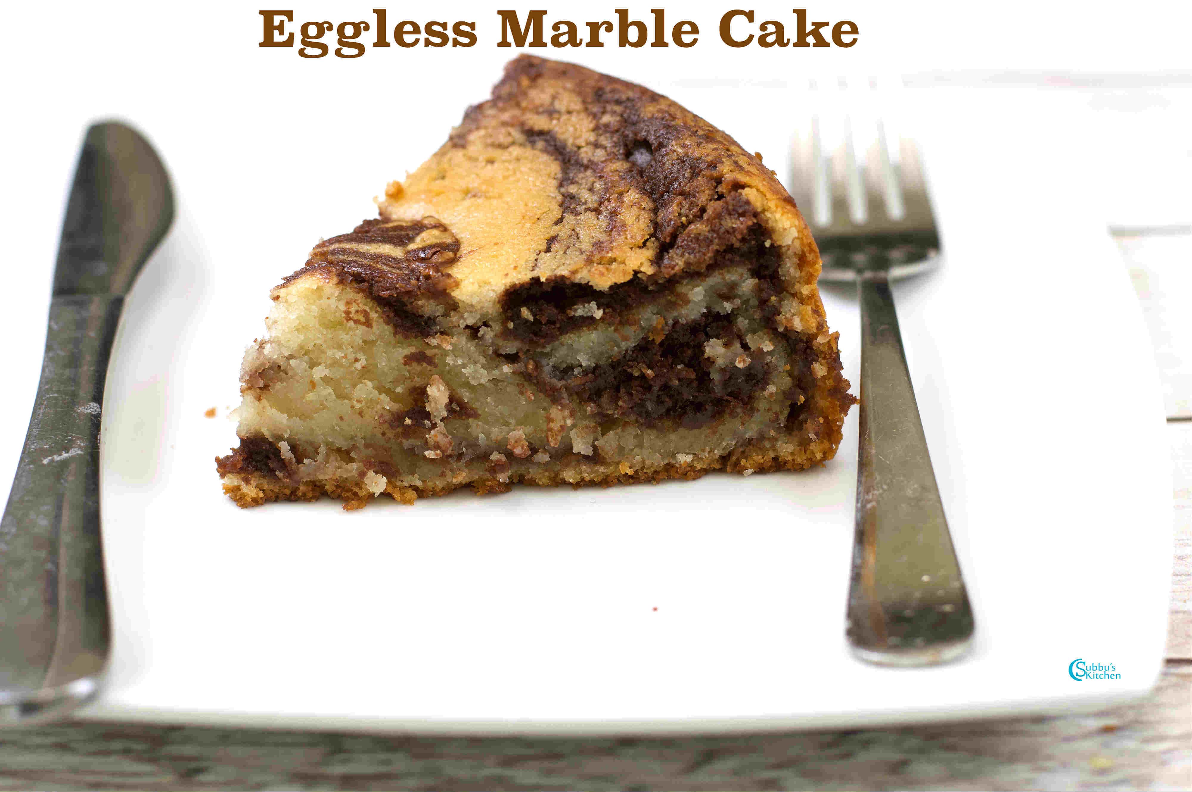 Eggless Vanilla Cake Recipes In Pressure Cooker: Eggless Marble Cake In Pressure Cooker
