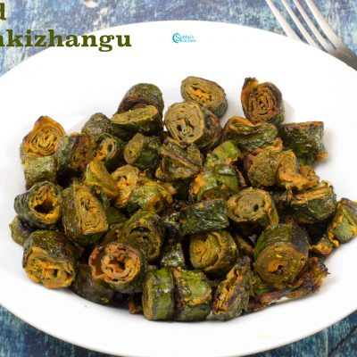 Stuffed Seppankizhangu Leaves Fry | Tara Root Leaves Stir-Fry