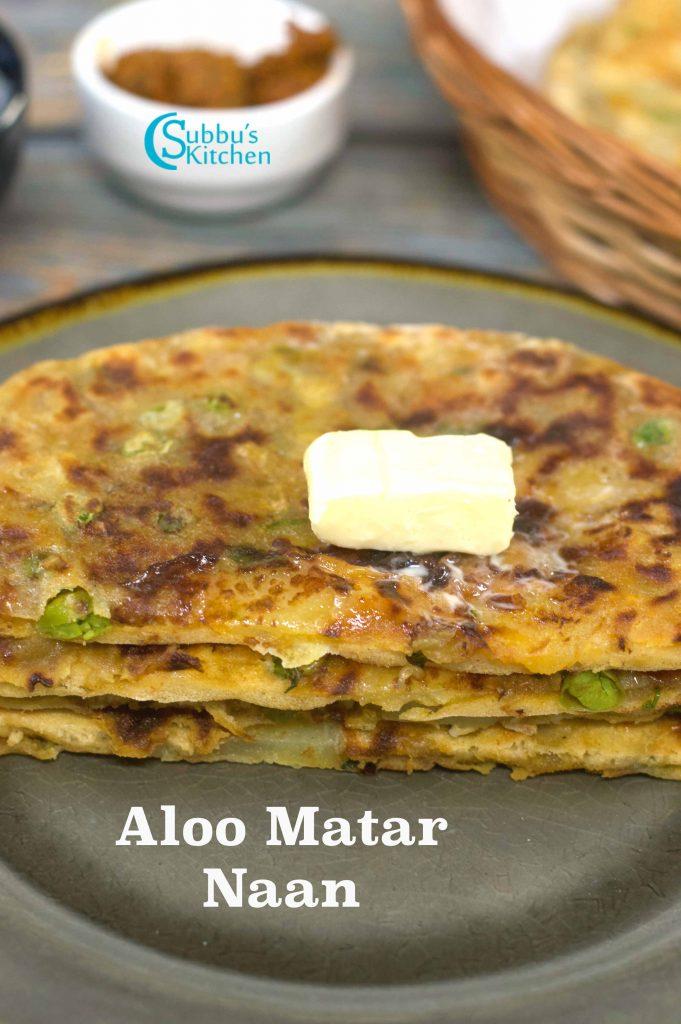 Aloo Matar Naan | Stuffed Naan with Aloo Matar Masala
