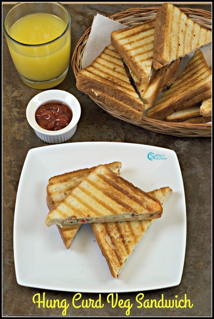 Hung Curd Veg Sandwich Recipe