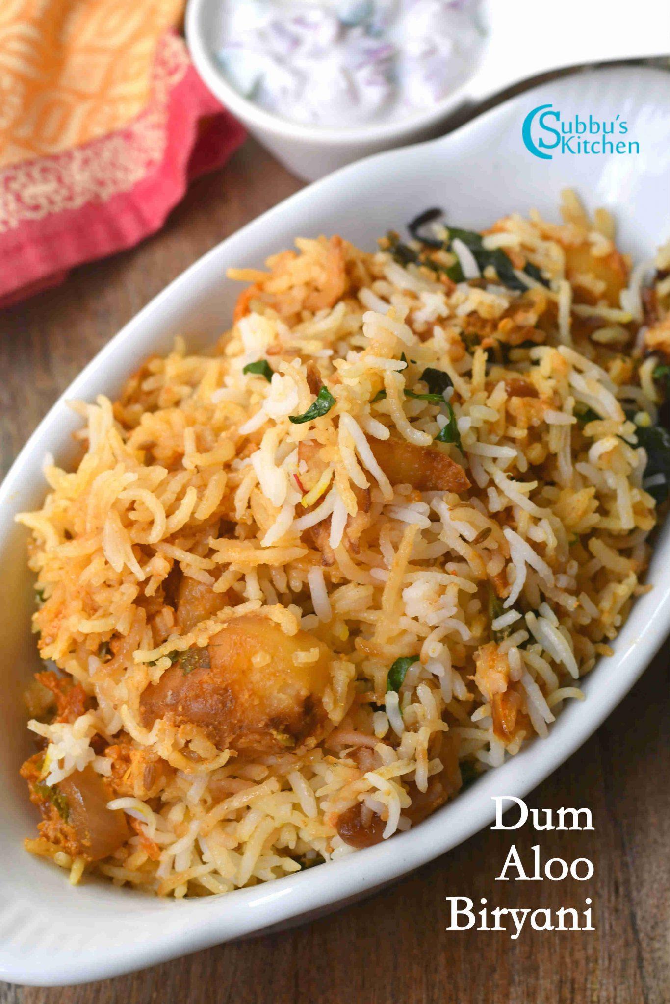 Aloo Dum Biryani | Dum Aloo Biryani Recipe - Subbus Kitchen