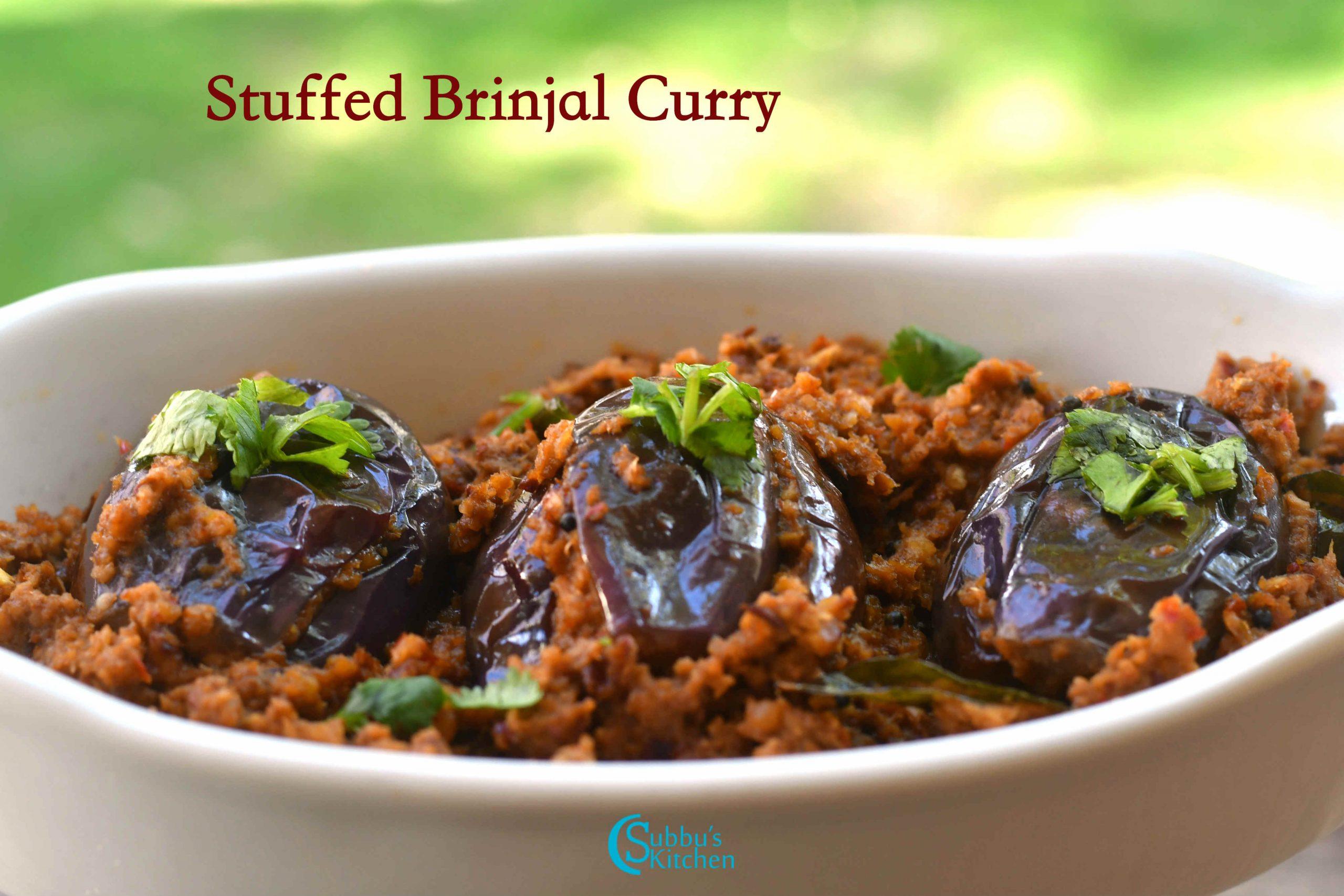 Brinjal Stuffed Curry Stuffed Brinjal Fry Recipe Subbus Kitchen